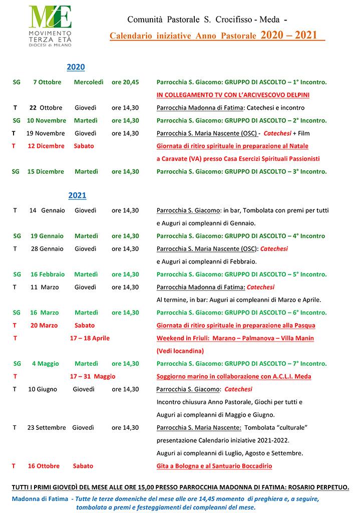Meda – Calendario Anno pastorale 2020/2021 – MTEmilano